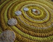 Gold and yellow handmade circle rug