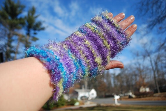 On sale,FUN FUR handmade fingerless gloves
