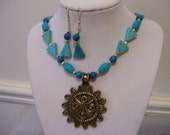 Turquoise Blues 20 inch Necklace, Aztec Pendent and Earrings