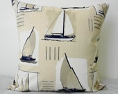 Sailboat Decorative Pillow Cover, 20x20, Nautical Throw Pillow Cover , Beach Pillow, Grey Blue, Natural and White, from France
