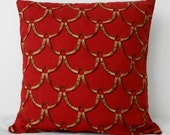 Horse Tack Decorative Pillow Cover, Red, Brick, Burgundy, 16x16