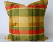 SALE -  20% Discount -  Decorative Throw Pillow Covers in Gold, Green, Red, Yellow Plaid,  20x20, Cushion Cover