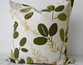 SALE -  20% Discount -  Green LeavesThrow Pillow Cover, Decorative Pillow Cover, Olive Green 16x16