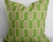 Geometric Pillow Covers, P Kaufmann Fabric, Apple Green, Tan Decorative Pillows, Throw Pillow Covers,16x16, Cushion Cover