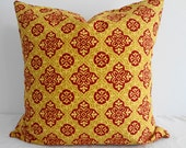 Decorative Throw Pillow Covers, Braemore Design Print, Goldenrod, Red, Yellow, 20x20