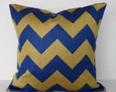 Chevron Throw Pillow Cover, Decorative Pillow Cover,  Blue, Gold, 18x18