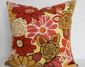 Indoor/Outdoor Retro Brown, Gold, Orange Decorative Pillow Cover, Throw Pillow Cover, 18x18, 1970s, Cushion Cover