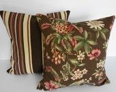 2 Indoor/Outdoor Decorative Throw Pillow Covers, Brown, Tan, Duralee Fabrics,18x18