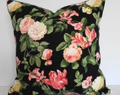 Indoor - Outdoor  Flowers Decorative Pillow Cover in Coral, Black, Duralee Fabrics, 18x18, Cushion Cover