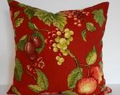 Red DecorativeThrow Pillow Cover,vineyard fabric, 20x20, Pillow Cushion