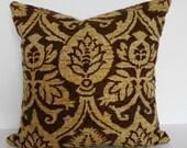 Damask Decorative Pillow Cover, Throw Pillow Cover, Brown, Tan, Pillow Cushion, 16x16