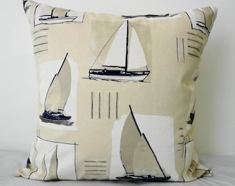 Sailboat Decorative Pillow Cover, Nautical Throw Pillow Cover , Beach Pillow, Grey Blue, Natural and White, from France, 20 x 20