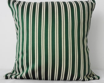 Decorative Pillow Cover, Green Pin Stripes Throw Pillow, 16x16, Cushion Cover