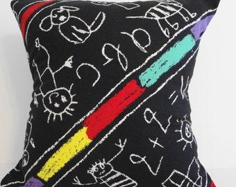 Classroom Pillow Cover, Decorative Throw Pillow,  Chalkboard Print, Black 16x16, Cushion Cover