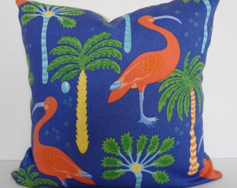 Flamingo Decorative Throw Pillow Cover, Robert Allen At Home Collection, Coral, Blue, Green, Yellow, 20x20, Cushion Cover