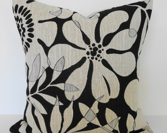 Decorative Black and White Floral Pillow Cover, Throw Pillow Cushion, 18x18