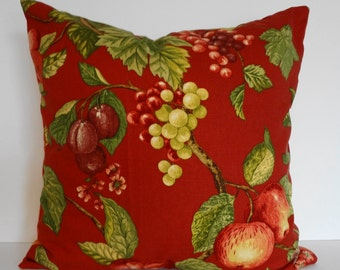 Red DecorativeThrow Pillow Cover,vineyard fabric, 20x20, Pillow Cushion