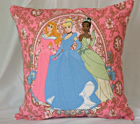 Disney Princess Throw Pillow Cover Pink Blue and Cream