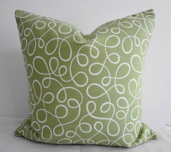 Sage Green Swirls Decorative Throw Pillow Covers, P Kaufmann Designer, 16x16