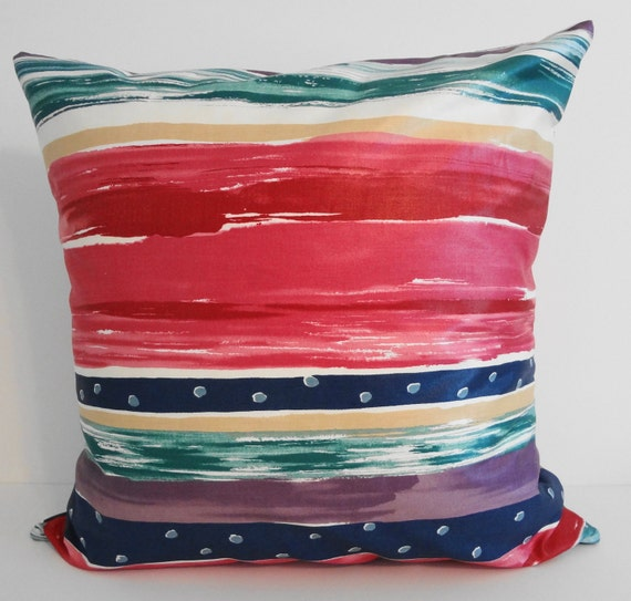Decorative Watercolors Pillow Cover, Throw Pillow Cover, Coral, Emerald, Purple, Blue, Red  20x20