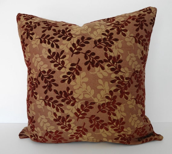 Decorative Leaves Pillow Cover, Richloom Fabrics, Burgundy and Brown, Throw Pillow Cover, 20x20, Cushion Cover