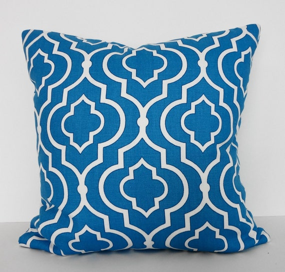 Blue Lattice Throw Pillow : Tourquise Blue Lattice Decorative Throw Pillow Mill by pillows4fun