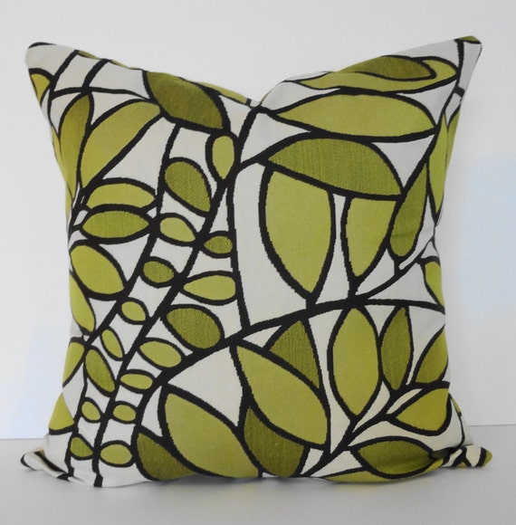 Green Leaves Decorative Throw Pillow Cover, Brown, Cream, Green 18x18