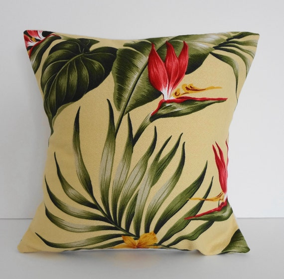 Tropical Throw Pillow Covers : Tropical Throw Pillow Cover Hawaiian Print 12x12 Yellow