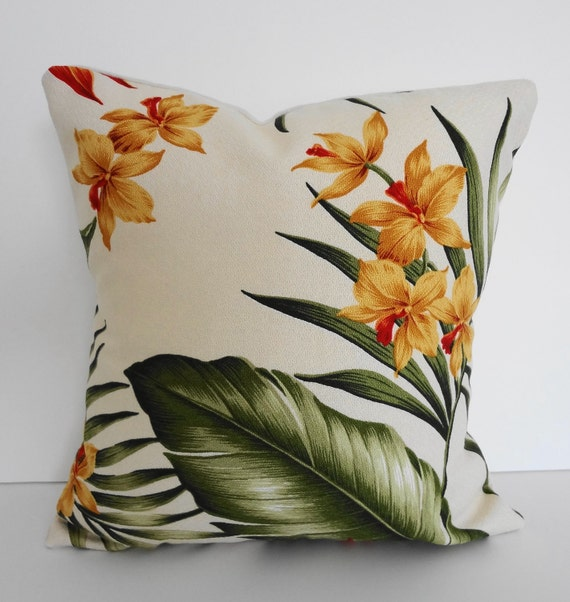 Tropical Throw Pillow Cover, Yellow Flowers Hawaiian Print, 12x12