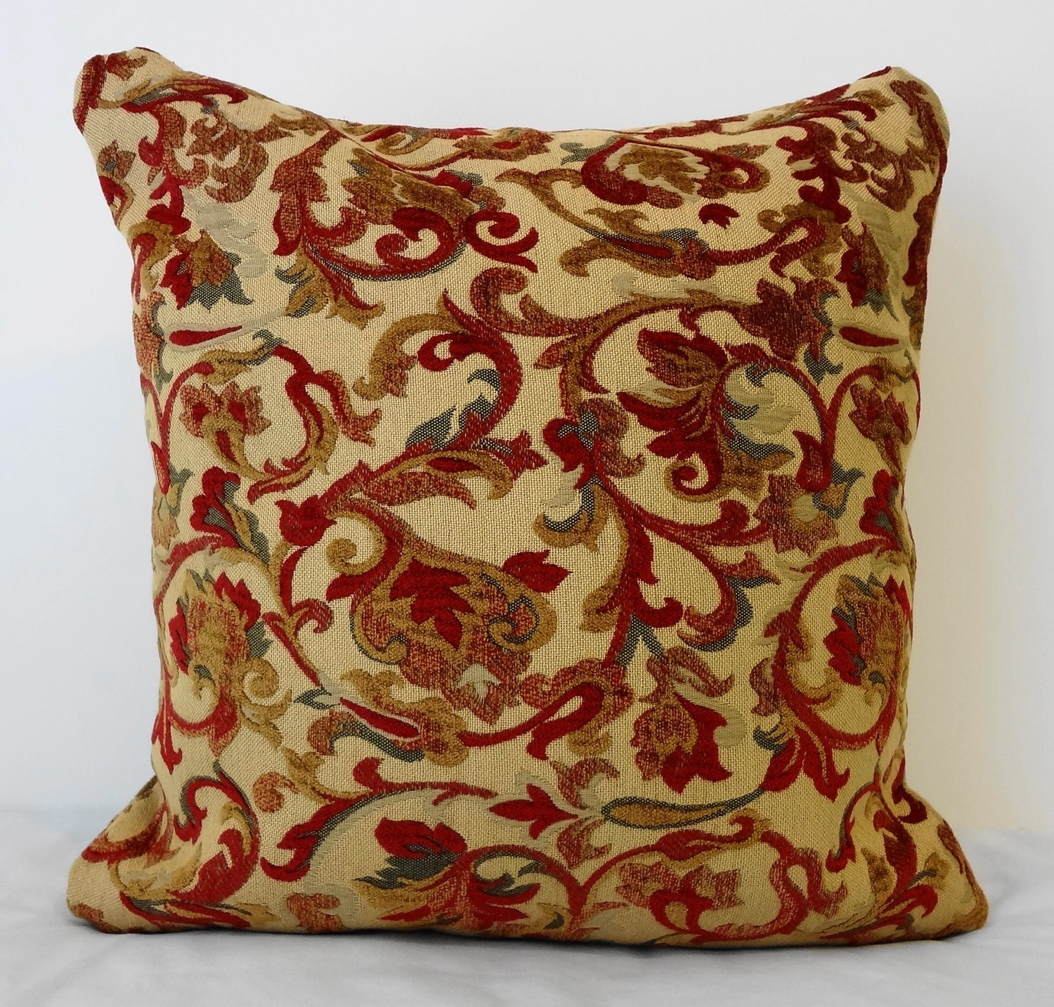 Throw Pillow Red : Decorative Pillow Cover in Red Green and Gold Throw Pillow