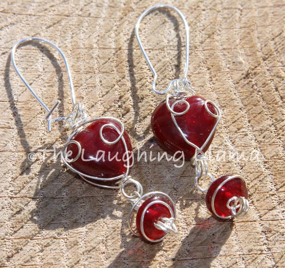 Heart Shape Red Agate Wire Earrings