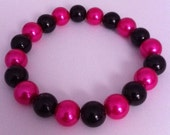 Hot Pink and Black Pearl Bracelet