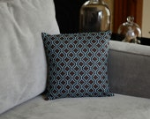 Brown 12x12 pillow cover with turquoise pattern