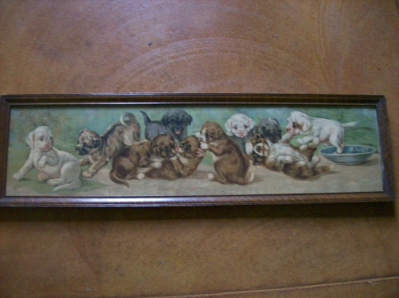 Reserved For Carol Antique Picture Yard Long Print Puppies