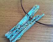 Green Ceramic Pendant, Fork in the Road, Wood Like, Fall Fashion, Rustic Jewelry, Ceramic Jewelry