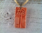 Antique Key Ceramic Pendant, Antique Peach, Spring Fashion, Ceramic Necklace