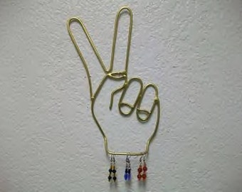 Peace Sign Jewelry Holder Wall Art