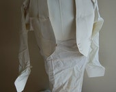 VINTAGE 1930s MENS White Formal Linen Dress Shirt and Vest