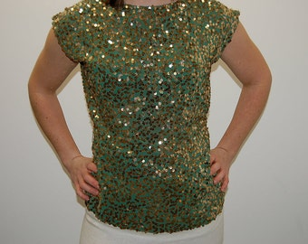 A Vision of DISCO GOLD- Vintage Green & Gold Sequined Evening Shirt- Small