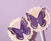 12 Butterfly (3D) Cupcake Toppers with Rhinestone