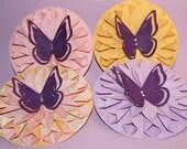3D Butterfly Fanned Flower-Set of 4 (Lovely Pattern w/ matching Pink, Purple, Yellow)