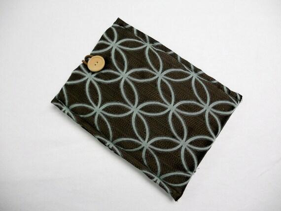 Padded Kindle Sleeve - Kindle Fire Sleeve - Nook - eReader Cover - Brown & Greenish Blue Circle