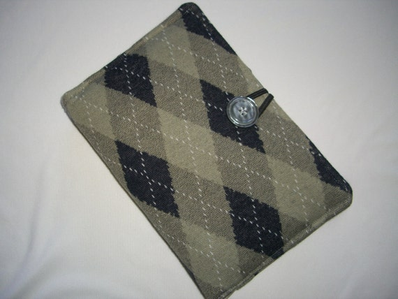 Recycled Padded Argyle Kindle Cover - Kindle Fire Case - Nook/ eReader Cover Case - Navy Blue - Gray