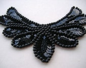 Glamorous Black Applique Embellishment Sequins and Beads
