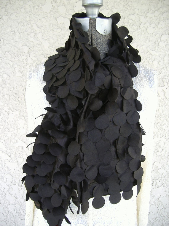 Woman's Scarf Black Silk Original Design