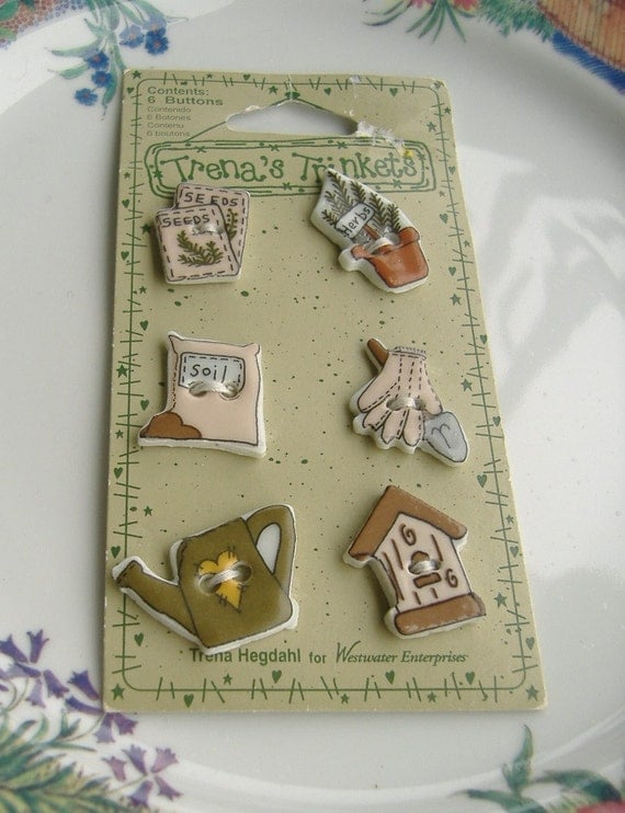 Buttons Garden Theme Ceramic Set of 6 Trena's Trinkets