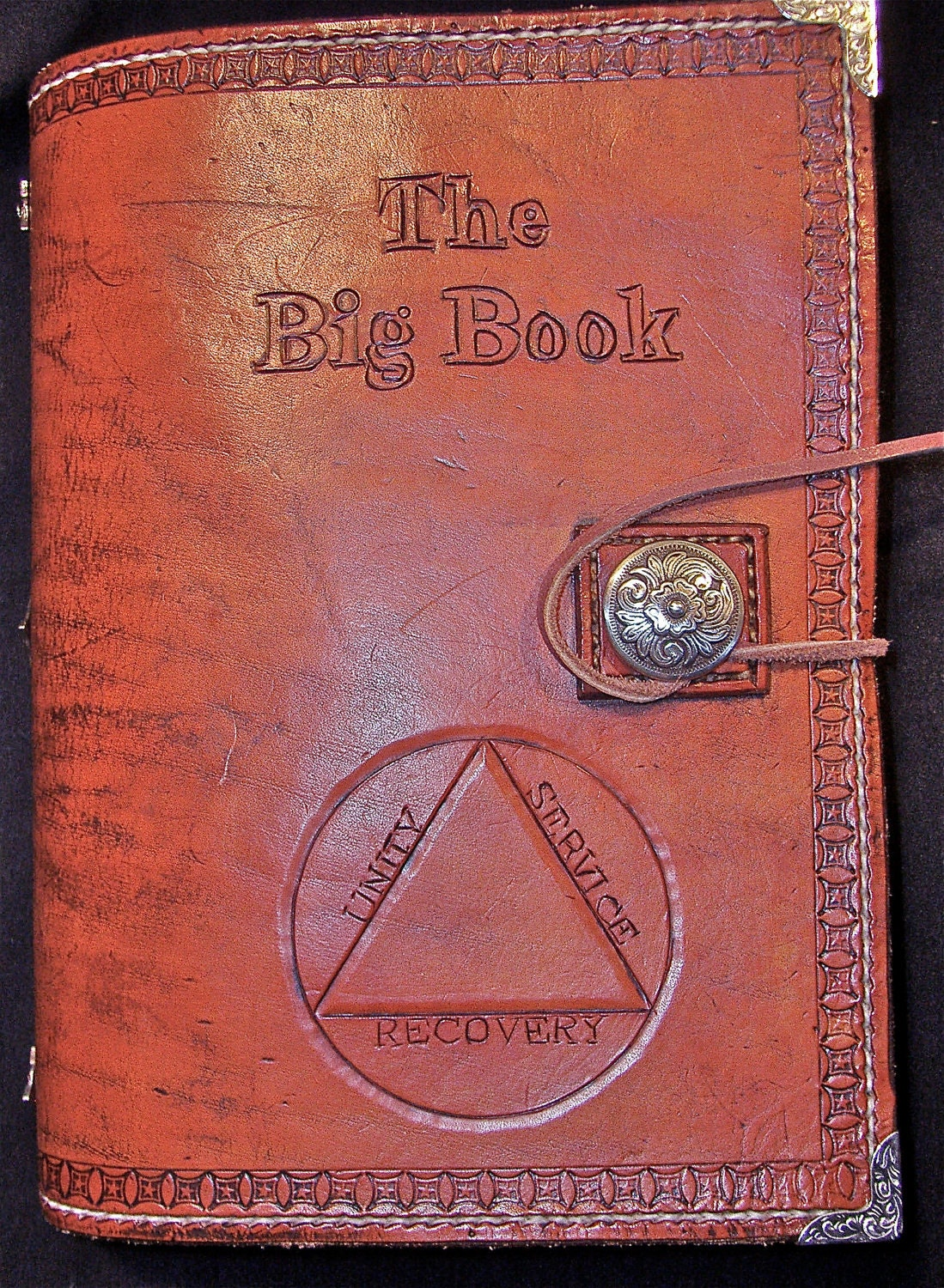 Book Cover Craft Books : Alcoholics anonymous leather big book print edition cover