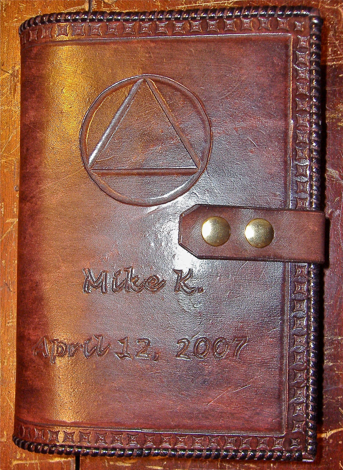 How To Make A Leather Book Cover : Alcoholics anonymous leather big book cover