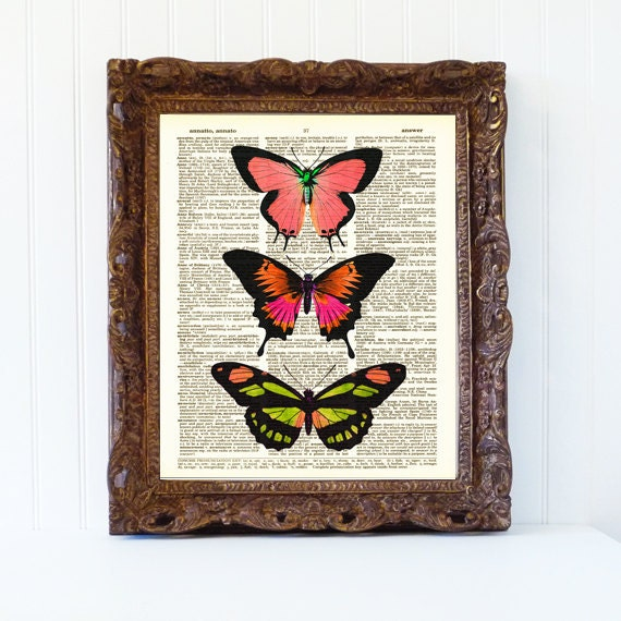 butterfly pink orange dictionary book page art print vintage decor butterflies