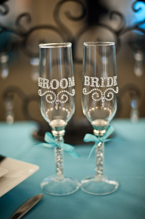 "Tiffany Blue Wedding Bling ""Bride & Groom"" Toasting Flutes"